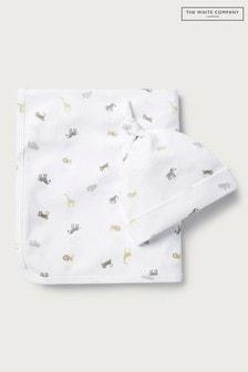 The White Company White Safari Print Blanket & Hat Set