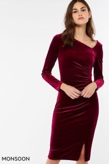 Monsoon Red Catriona Velvet Shift Dress