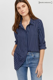 Warehouse Blue Rope Stripe Longline Shirt