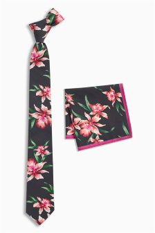Floral Cotton Tie And Pocket Square Set