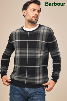 Barbour® Grey Tartan Jacquard Crew Jumper