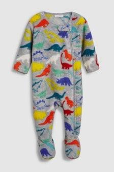 Pijama tip salopetă din fleece cu imprimeu dinozaur (0 luni - 3 ani)