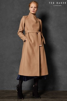 Ted Baker Camel Sandra Long Wool Wrap Coat