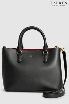 Lauren Ralph Lauren Black Red Marcy Satchel