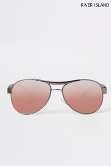fb966289f5 River Island Black Aviator Style Purple Lense Sunglasses