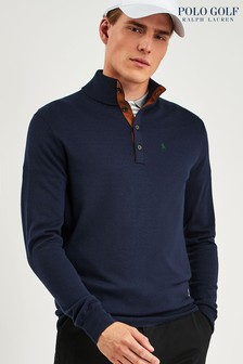Ralph Lauren Polo Golf Navy Button Neck Jumper