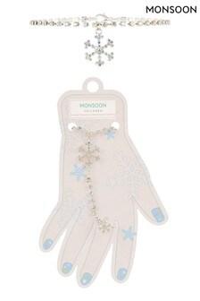 Monsoon Silver Frosted Snowflake Choker & Linked Bracelet Set