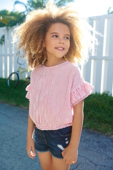 Stripe Frill Sleeve Blouse (3-16yrs)