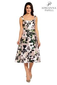 שמלה מודפסת פרחונית ורודה שלAdrianna Papell