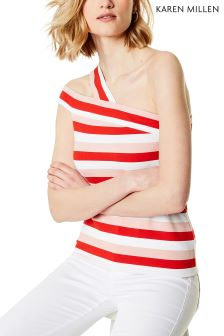 Karen Millen Red Asymmetric Placement Ponte Top