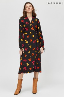 Warehouse Black Sunset Floral Wrap Midi Dress
