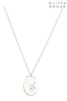 Oliver Bonas Sterling Silver Wildflowers & Stars Engraved Pendant Necklace