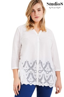 Studio 8 White Maeve Broderie Top