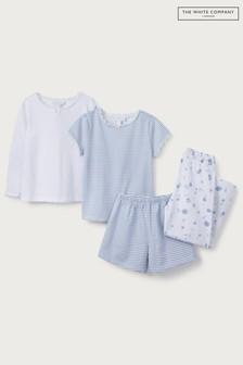 The White Company White/Blue Floral & Stripe Pyjamas 2 Pack