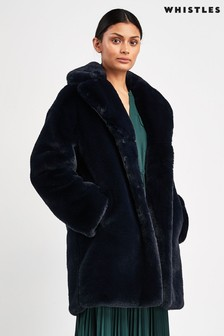 Whistles Navy Faux Fur Coat