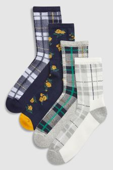 Floral/Check Pattern Cushion Sole Ankle Socks Four Pack