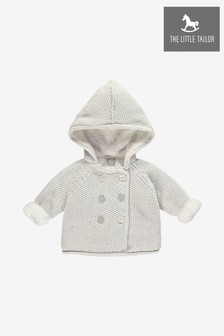 The Little Tailor Grey Baby Pram Plush Lined Coat