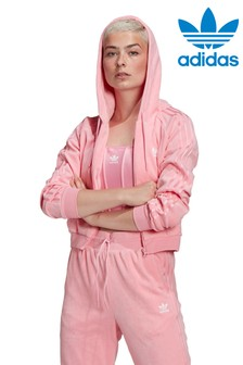 adidas Originals Pink Relaxed Risque Velour Zip Through Hoody