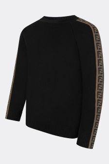 Kids Black Wool Logo Trim Sweater