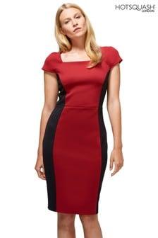 HotSquash Red Square Neck Pencil Dress