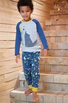 Frugi Blue Jamie Moonlit Night Wolf Pyjama
