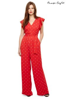 Phase Eight Scarlet/Ivory Dotty Jumpsuit