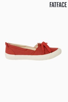 FatFace Red Organic Shallow Lace-Up Trainer