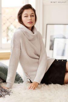 Mint Velvet White Lace-Up Side Cowl Neck Knit Sweater
