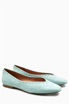 Whipstitch Square Toe Ballerinas