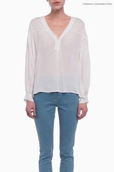 French Connection White Avea Crinkle Oversized Shirt