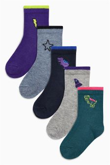 Embroidered Socks Five Pack (Younger)