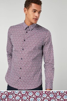 Long Sleeve Geo Print Shirt
