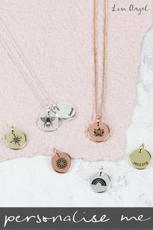 Personalised Engraved Symbol Disc Charm Necklace by Lisa Angel