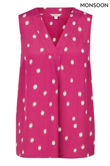 Monsoon Pink Ikat Spot Tank Top