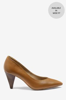 Leather Cone Heeled Court Shoes