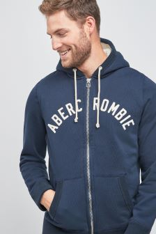 Abercrombie & Fitch Navy Sherpa Lined Hoody