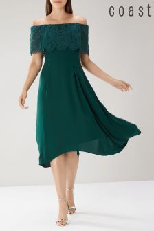 Coast Green Oriel Lace Bardot Dress