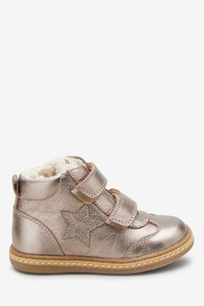 Warm Lined Leather Touch Fastening Star Boots (Younger)