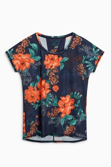 Print Pleat Back T-Shirt