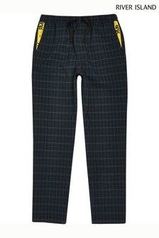River Island Green Check Yellow Tape Trouser