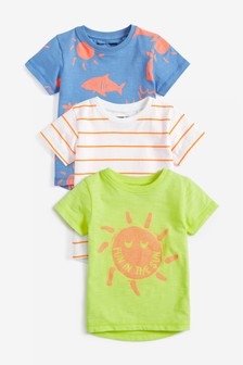 Fluro Sun Short Sleeve T-Shirts Three Pack (3mths-7yrs)