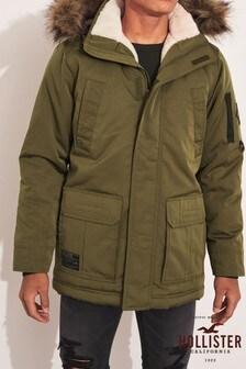 Hollister Olive Faux Fur Parka Jacket