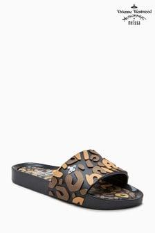 Vivienne Westwood Black Contrast Leopard Beach Slider