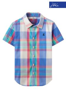 Joules Blue Check Luke Short Sleeve Shirt