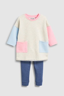 Colourblock Dress And Legging Set (3mths-6yrs)