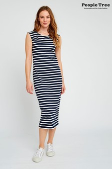 People Tree Navy Organic Cotton Amelia Stripe Dress
