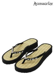 Accessorize Black Wendy Seagrass Wedge