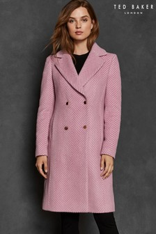 Ted Baker Pink Saffra Chevron Wool Midi Coat