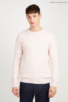 French Connection Pink Stretch Cotton Crew Neck Jumper