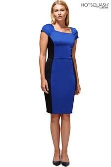 HotSquash Royal Blue Square Neck Pencil Dress